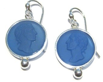 blue agate earrings  silver 925%