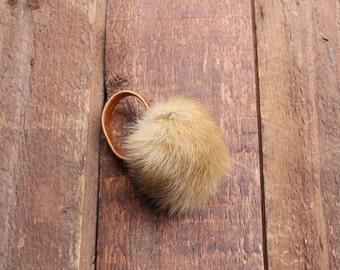 Ginger mink pom pom for hair