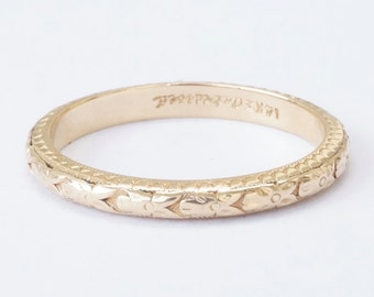 Antique 14k Yellow Gold Floral Wedding Stacking Band Ring Size 5.5