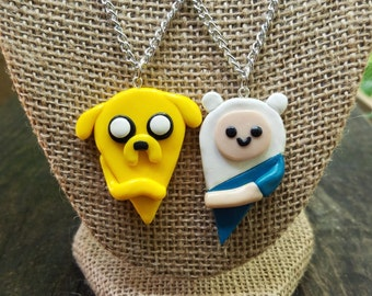 Finn and Jake Adventure Bros BFF Jewelry Set, Adventure Time, Friendship Necklaces, BFF Necklace, BFF Gifts, Handmade Gift Set