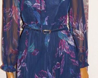 1960's Plissé Chiffon Dress