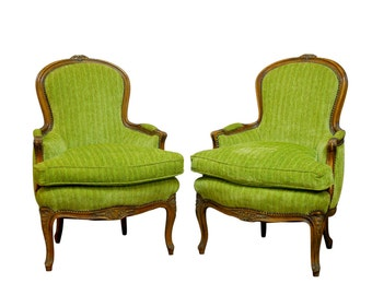 Pair of Louis XV Style Carved Chartreuse Velvet Bergeres