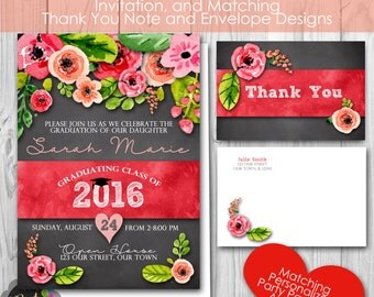 Floral Graduation Party, Personalized Printable Invitation, and Matching Thank You Note, Envelopes, Banner and Welcome Sign
