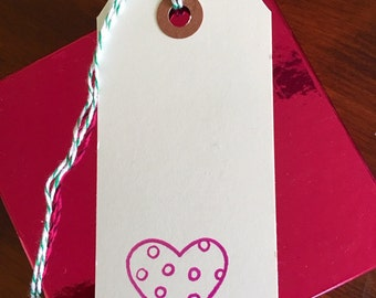 polka dot heart hand-stamped gift tags