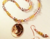 Carved Dolphin Oval Pendant /Beaded Necklace and Earring Set / Copper / Silver Pearl  / Yellow Sea Glass /Boho Chic / Beach