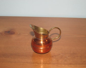 Vintage Ceramit Pitcher / Creamer Copper and Brass made in Holland