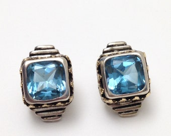 London Blue Topaz Earrings 14kg Sterling Silver Cushion Cut 4 Carat Total Signed Royal