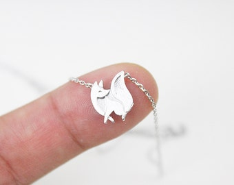 Tiny Gold and Silver Fox Pendant Necklace. Dainty and Delicate Necklace . Birthday Gift