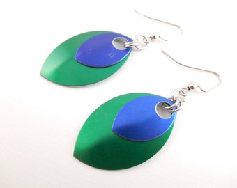 Scale Maille Earrings - Blue & Green Anodized Aluminum Scale Maille Earrings