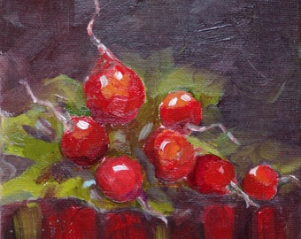 original daily painting, still life radishes
