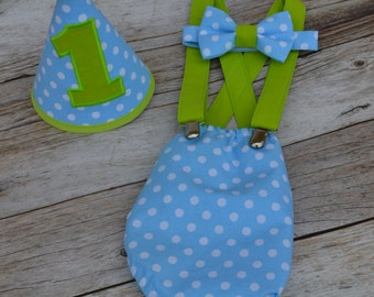 Boy Cake Smash Outfit,Boy 1st Birthday outfit, boy cake smash, Bow Tie and Diaper Cover, 1st Birthday Outfit, Mickey Mouse Baby Blue