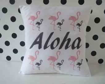 Aloha Pillow cover, pillow case, cushion cover, Flamingos pillow , birds pillow, Falmingo pillow cover, pillow with flamingos, Flamingos