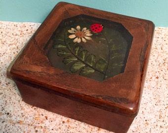 1970s Vintage Pressed Flowers Jewelry Lady Bug Box