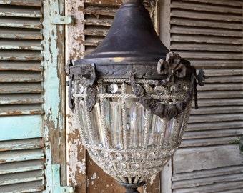 Beautiful, vintage acorn shaped Belgian ormolu style chandelier