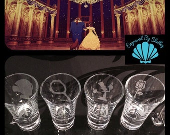 Personalised Beauty and the Beast  Shot Glasses. Set of 4 ! Totally Unique Gift For Any Disney Fan!