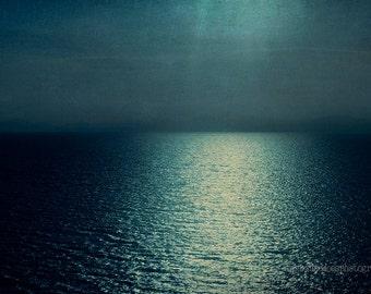 Ocean photography, Sea photo,  dark blue ocean print, sunset, seascape, zen, nautical, coastal fine art print, home decor, minimal  decor