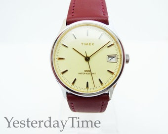 Timex Men's Watch 1988 Cream Dial With Date Window Manual Wind Movement