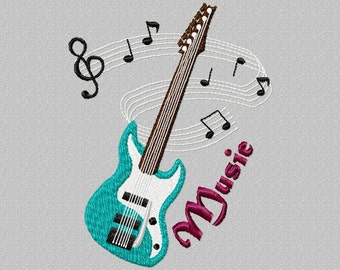 Embroidery file guitar guitar music fits on the frame 10 x 13