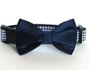 Navy Mini Checks with Navy Satin Bow Tie Dog Collar Bow Tie set