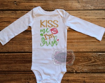 St Patricks Day Kiss Me I'm Irish Onesie Baby Girl Onesie Shamrock Onesie Funny Shirt Personalized Onesie Green Pink & Gold