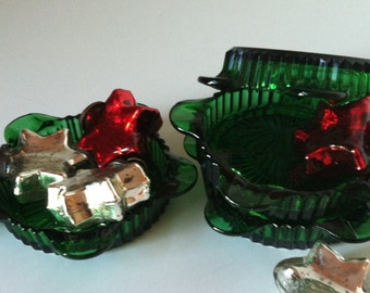 Forest Green...BarWare...Anchor Hocking...Pentagonal...Ash Tray Set