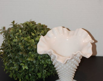 Milk Glass Hobnail  Vase,  From Fenton Art Glass