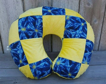 Boy Boppy cover and bib-space Boppy set-patchwork Boppy-quilted Boppy cover-shower gift-minky Boppy cover and bib-blue and  yellow set
