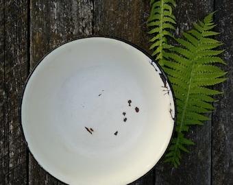 Vintage white enamelware bowl enameled metal bowl black rim rustic farm farmhouse decor old French style kitchen enamel tin soviet era USSR