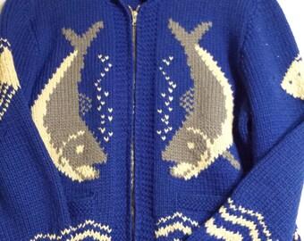 Beautiful vintage Cowichan fish sweater