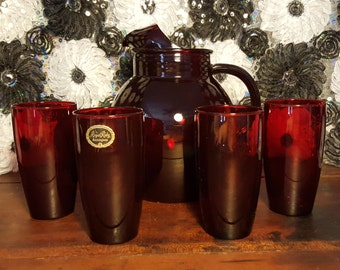 Royal Ruby Red Anchorglass Ruby Red Collectibles Ruby Red Drink Set Ruby Red Pitcher and glasses