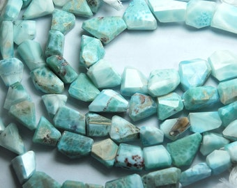280 Cts, 10 Inches, Super Rare Finest Quality Rare Larimar Faceted large Size Nuggets, Size 13-20mm