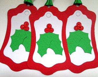 Holly Christmas Gift Tags - Christmas Tags - Holiday Gift Tags - Christmas Gifts - Christmas Wrapping - Christmas Gift Wrap - Set of 6