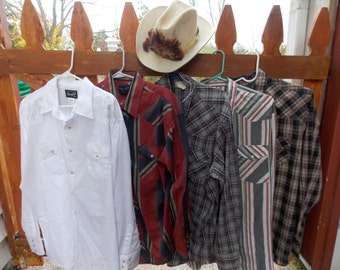 Cowboy Western Mystery Randomly Selected LONGSLEEVE Pearl Snap Shirt 70's/80's/90's Size Medium (15-15.5)