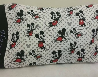 TODDLER / TRAVEL Personalized Pillow Case made with Mickey Mouse Fabric