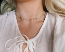 Amazonite Gemstone Adjustable Beaded Choker Necklace, Boho Jewelry, Beach Wear, Beaded Necklace, Bohemian Style