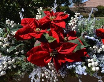 Christmas Garland, Poinsettia Garland, Hearth Garland, Christmas Hearth Garland, Wedding Garland, Grand Garland