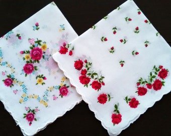 White cotton vintage handkerchiefs with roses set of two