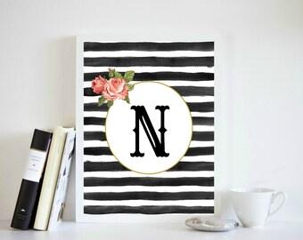 Black and White Print, Black Monogram Art, Baby Shower Print, N Letter Print, Monogram 8x10 Print, Letter N 8x10 Print, Letter N Wall  Decor
