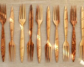 Plum wooden fork