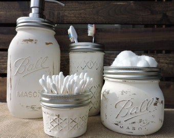 Mason Jar Bathroom Set, Custom Color, Mason Jar Soap Dispenser, Chalk Painted Mason Jars, Custom Mason Jar Sets, Bath Set, Custom Color Set