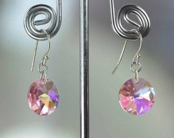 RARE Swarovski Crystal Earrings -New Sterling Silver Hook- Light Rose AB