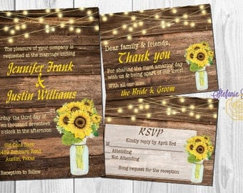 Rustic Sunflower and Wood Wedding Invitation Set: Invite, RSVP and Thank You • Digital or printed