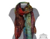 Blue yellow Silk Scarf Hand Painted Scarf Multi-color Scarf 100% Silk Hand-dyed Summer Autumn Scarf Luxury Gift Ready to Ship