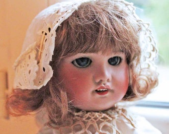 Antique french bisque doll 'SFBJ' Jumeau Unis/ Beginning of 20th century restored antique porcelain doll (not reproduction) Bleuette(?)