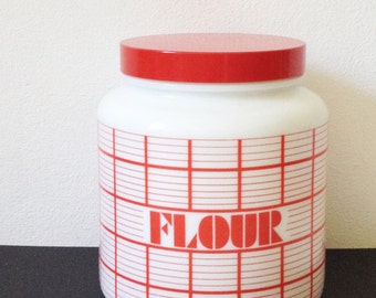 Vintage flour container by CLP, like Pyrex, retro white and red grid, 1970s kitchen storage