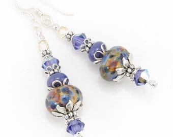 Tanzanite Muse Lampwork Earrings, Purple Dangle Earrings, Artisan Lampwork Jewelry, SRA Lampwork Glass