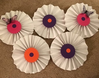 Handmade butterfly themed paper fans