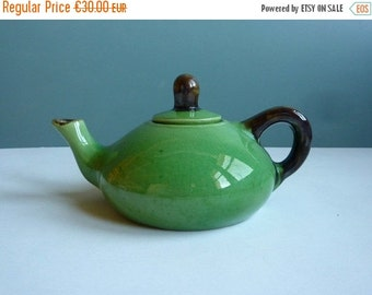 July Sale A vintage french handmade teapot, green