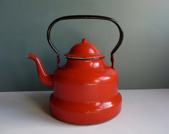 a vintage french red enamel kettle, kitchen décor