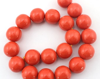 10%off 20mm Romantic Orange Surface Shiny Side Coral Beads One Full Strand Coral Beads Round Coral ----about 20 Pieces---15 inches--BN101